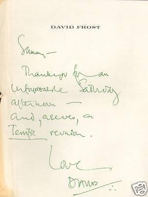 David Frost Hand Written Signed Personal Letter to Sammy Davis Jr LOA - PSA/DNA - Personal Letter Signed
