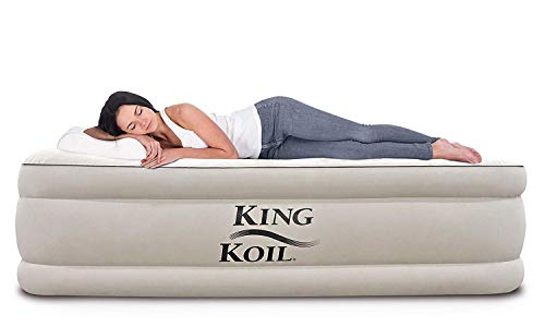 King Koil California King Luxury Raised Air Mattress with Built-in 120V AC High Capacity Internal Pump Comfort Quilt Top First Ever Cal King Airbed King for Home Camping Travel 1-Year Guarantee