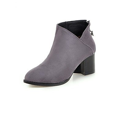 RTRY Zapatos De Mujer Flocado Moda Invierno Botas Botas Chunky Talón Señaló Toe Botines/Botines Para Oficina Informal &Amp; Carrera Gris Negro US5.5 / EU36 / UK3.5 / CN35