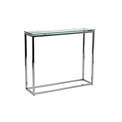 "Euro Style Sandor Clear Glass Top Console Table, Chromed Steel Base - 8 mm thick tempered glass top Chromed stainless steel base Dimensions:30.25"" H x10"" W x36"" D - living-room-furniture, living-room, console-tables - 31ka%2B4ohDdL. SS400  -"