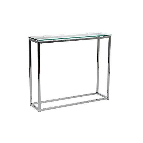Euro Style Sandor Clear Glass Top Console Table, Chromed Steel Base by Eurø Style