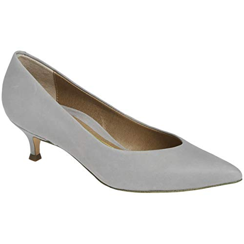 (Vionic Women's Kit Josie Kitten Heels - Ladies Pumps with Concealed Orthotic Arch Support Light Grey Leather 10 W US)