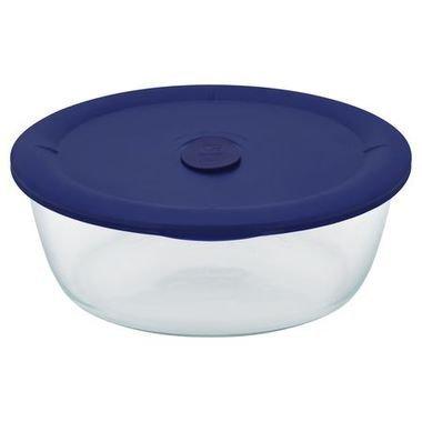 Pyrex 1122960 071160096608 Pro 3Quart 2.85L Round Bowl with Navy Plastic Cover, Blue ()