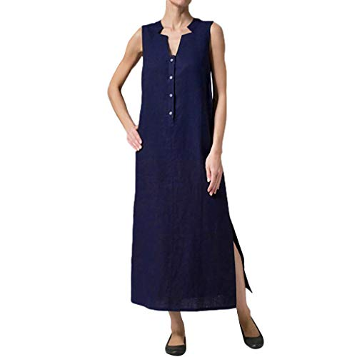 Women Long Dress Cotton Linen Sexy Sleeveless V Neck Button Solid Casual Loose Summer Tank Sundress Daorokanduhp Navy