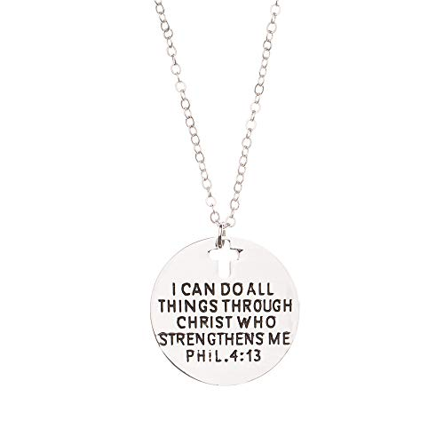 Infinity Collection Christian Necklace, Faith I Can Do All Things Through Christ Who Strengthens Me Phil. 4:13 Pendent, Scripture Jewelry Christian Gifts Verse Bible Gift for Women and Girls