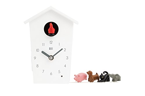 (KOOKOO AnimalHouse White, Striking Small Cuckoo Clock with 5 Farm Animals Sounds, Natural Field Recordings, Modern Sleek Designed Clock;)