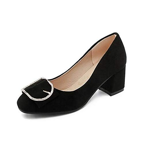 Zapatos Pink Spring Mujer Tacones Black ZHZNVX Yellow Heel de Black Wedge básica Suede Bomba RIqw7d