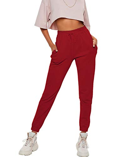 Hat and Beyond Womens Joggers Lightweight Pockets Sweatpants French Terry Trousers (3mx01_Red, Small)