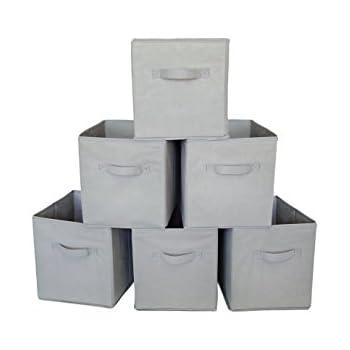 Square Storage Cube Fabric Basket (Set Of 6)   Grey