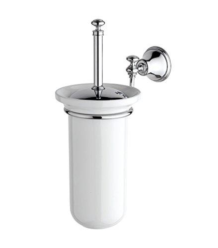 IBB British Wall Toilet Brush, Silver British Chrome Toilet Brush