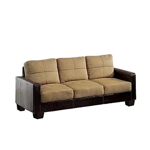 Benzara BM169091 Leatherette and Fabric Contemporary Sofa, Tan and Espresso Brown