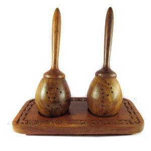 Khandekar (with device of K) Wooden Handmade Salt & Pepper Stick with Carved Base, Wood Spice Pepper Mill 6 ()