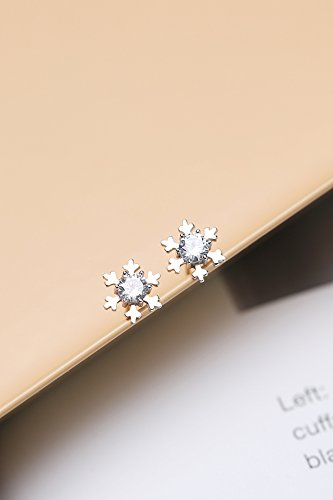 Silver Crystal Snowflake Ornaments wu yang Pierced Earrings earings Dangler Eardrop Sterling Silver Korean Women Girls Creative Mini Small Exquisite
