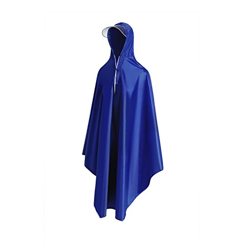 Long Rain Poncho, Reusable Raincoat For Men Women With Hood, One Size Fits All(Navy)