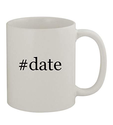 #date - 11oz Sturdy Hashtag Ceramic Coffee Cup Mug, White