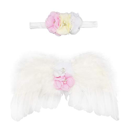 (Wolken Newborn Baby Angel Feather Wing with Chiffon Flower Rhinestone Halo Headband Set Photo Props Outfit Costume)