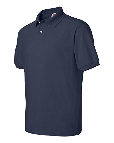 [Hanes mens 5.2 oz. 50/50 ComfortBlend EcoSmart Jersey Knit Polo(054X)-Navy-L] (Fifties Outfit)