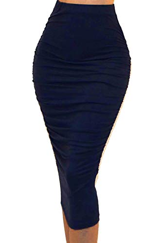 (Vivicastle Women's Ruched Frill Ruffle High Waist Pencil Mid-Calf Skirt (1navy, Navy, X-Large))