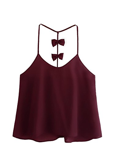 SweatyRocks Women's Sleeveless Loose Cami Blouses Spaghetti Strap Tank Top Burgundy (Burgundy Embellished)