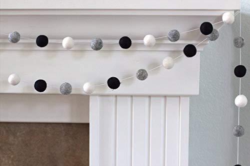 Black, Gray, White Felt Ball Garland- 1