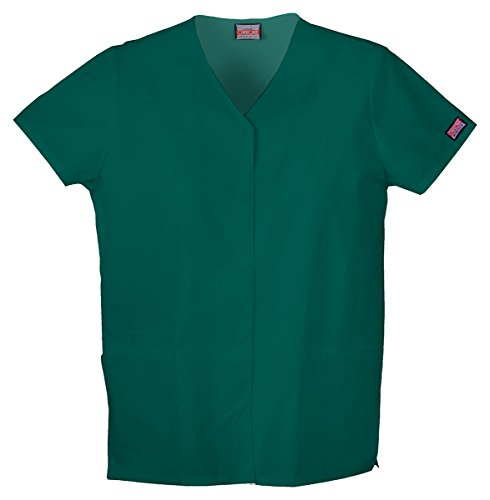 Cherokee Workwear Women's Snap Front V-Neck Shirt_Hunter_XX-Large,4770