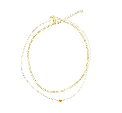 (RXBC2011 Simple Delicate Handmade Gold Heart Chokers Love Pendant for Women Mom Girls )