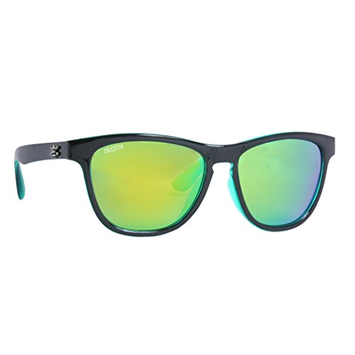 Calcutta Cayman Sunglasses Shiny Black Frame w/ Green Mirror - Cayman Sunglasses