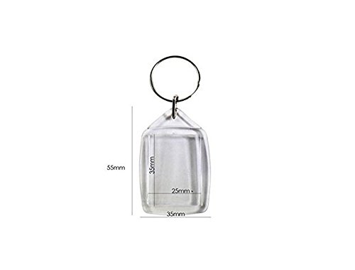 Ymkf Sqqr 100 Pcs of Blank Clear Acrylic Keyring 25x35mm Photo Insert Craft Keychain