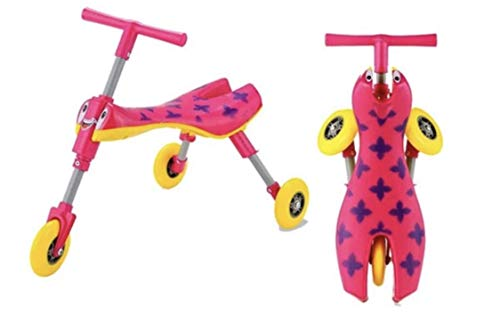 LaxM Scuttle Bug Ride On Toys Walking Tricycle Easy Foldable No Installation Required (22.5L×13.5W×16.5H, Pink&Blue) -