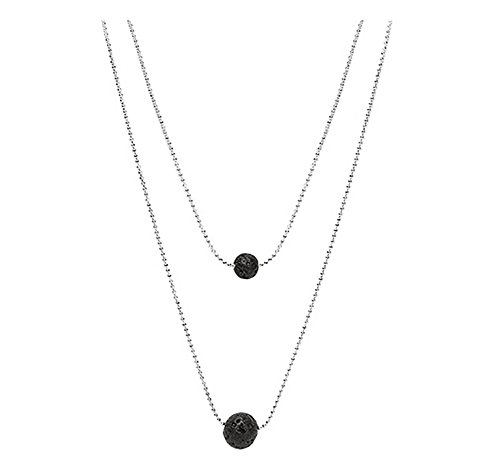 POSHFEEL Lava Stone Pendant Essential Oil Diffuser Multilayer Choker Necklace for Women, Silver