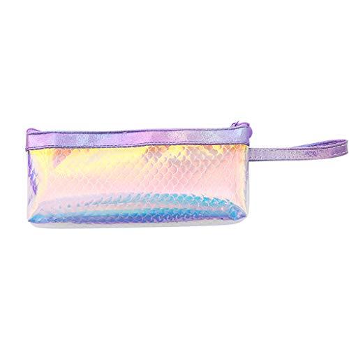kitt Cute Fish Scales Portable Pencil Case Student Stationery Bag Creative Pencil Bag Large-Capacity Multi-Purpose Cosmetic Bag Make-up Bag (Pink)