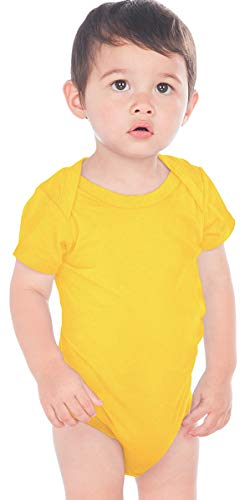 Kavio! Unisex Infants Lap Shoulder Short Sleeve Onesie (Same IJP0492) Yellow 12M