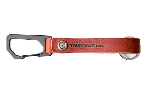 Trayvax Keyton Clip Carabiner Keychain Stainless-Steel, Canyon Red, Black Metal