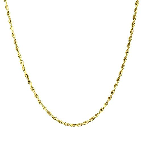 Q&S Jewels 2MM Gold Rope Chain Necklace for Men Women,18K Gold Plated Stainless Steel Chain Necklace Links,Fashion Jewelry, Wear Alone or with Pendant, 18Inches ()