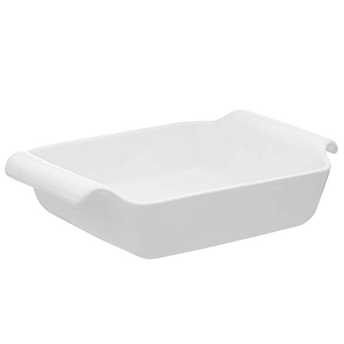 (Oxford C04K Professional Porcelain Deep Roaster/Baking Dish with Handle, Small, White )