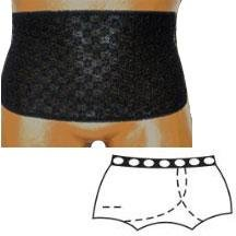 8083002SL - OPTIONS Ladies Brief with Open Crotch and Built-In Barrier/Support, Black, Left-Side Stoma, Small 4-5, Hips 33 - 37