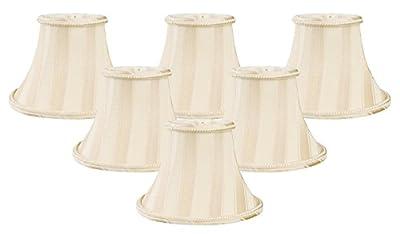 Royal Designs Beige/Eggshell Striped Chandelier Lamp Shade
