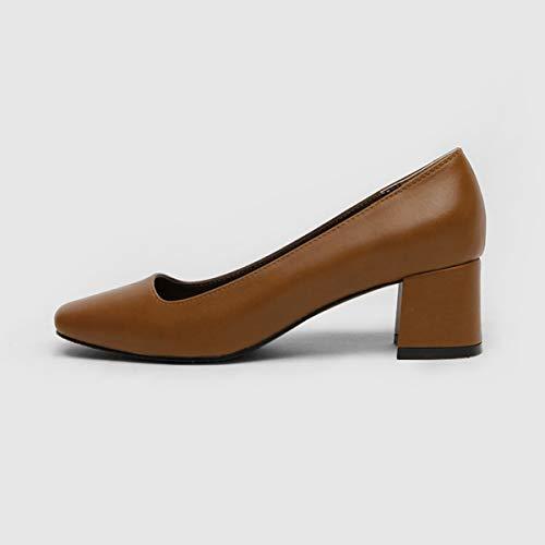 Gruesos De Altos Otoño Tacones Alto Con Mujer Yukun Tacón Brown Chicas Moda Zapatos UxqzS5v