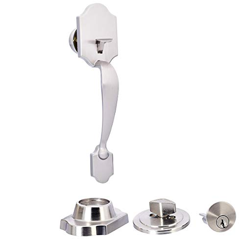 - AmazonBasics Standard Handle Set with Lock and Deadbolt, Classic Door Knob, Satin Nickel