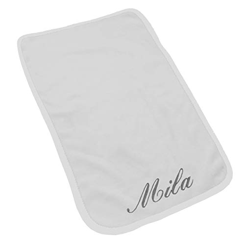 Custom Monogrammed Burp Cloth and Cloths Sets Personalized for Baby Girl or Boy (White Trim Set of 1 with ()