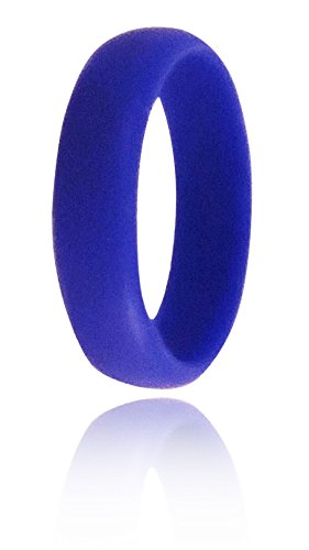 Emporium Women's Ladies Silicone Wedding Band Ring | Hypoallergenic | Waterproof | Medical Grade Silicone | Athletes, Laborers, Crossfit, Firefighters, Etc. | Durable for Women (2.5mm Cobalt Blue, 5)
