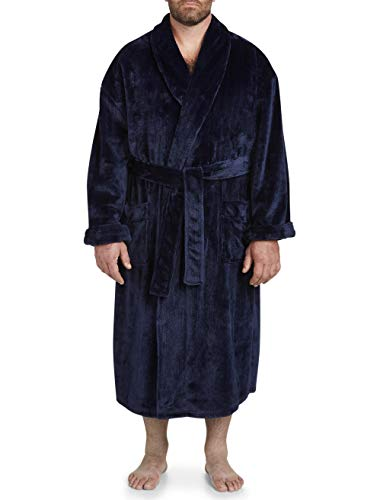 Harbor Bay by DXL Big and Tall Shadow Stripe Fleece Robe