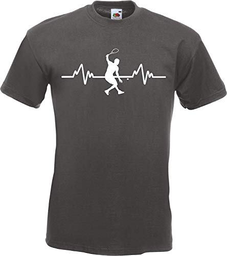 (Summy dogs Tees Heartbeat Squash Sports Player T-Shirt (Small) Graphite Grey )