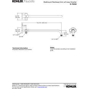 Kohler K-76332-2BZ Wall-mount rainhead arm with 3-way diverter Oil-Rubbed Bronze Finish
