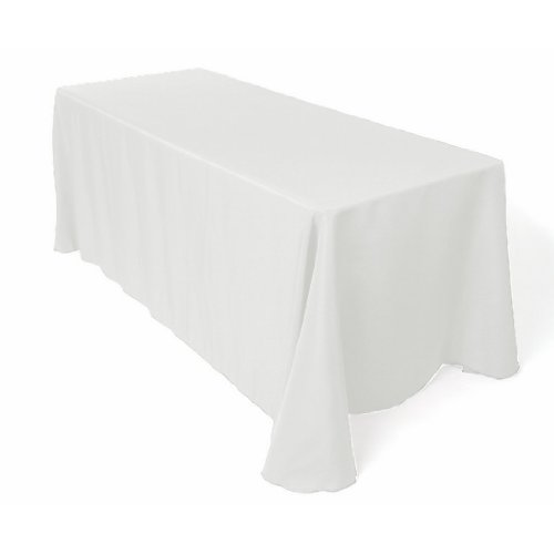 Craft and Party 90' X 156' Rectangular Polyester Tablecloth (White)