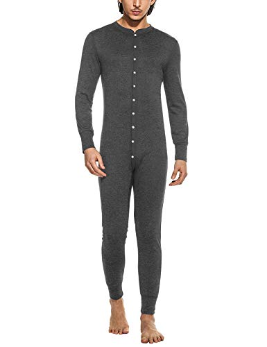 Hotouch Men's Mid Weight Double-Layer Thermal Union Suit Pajama Dark Grey S -
