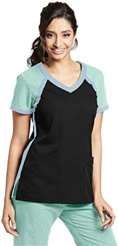 Grey's Anatomy Active 3-Pocket Crossover V-Neck Color Block Top for Women