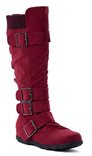 WW Footwear Womens Ladies Buckle Sweater Knit Flat Knee High Mid Calf Boots Shoes Wine *Elmaa-02
