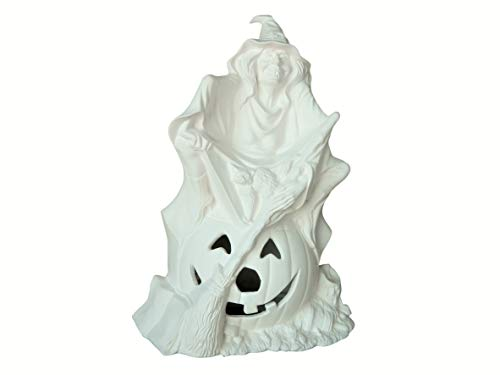 Pandora Witch & Pumpkin Halloween Unpainted Ceramic Bisque - Handcrafted in The USA (Cut Out Only)