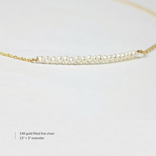 BENIQUE Dainty Necklace Choker for Women - Freshwater Cultured Pearl, Fine Chain for Layering, AAA Cubic Zirconia Drop, 14K Gold Filled, Made in USA, 13''+3'' Adjustable Ext. (Mini Pearl Bar) by BENIQUE (Image #2)